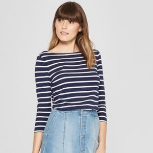 Navy x White Striped 3/4 Sleeve Boat Neck T-Shirt